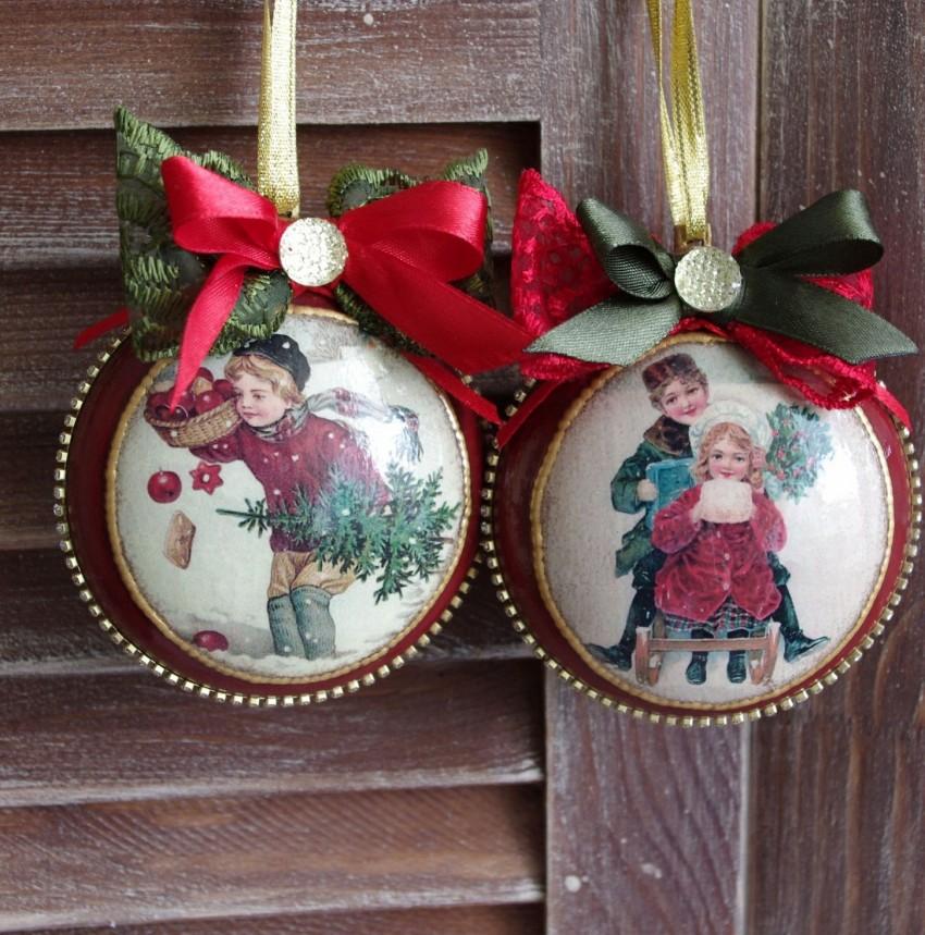 Декупаж новогодних шаров: варианты декорирования