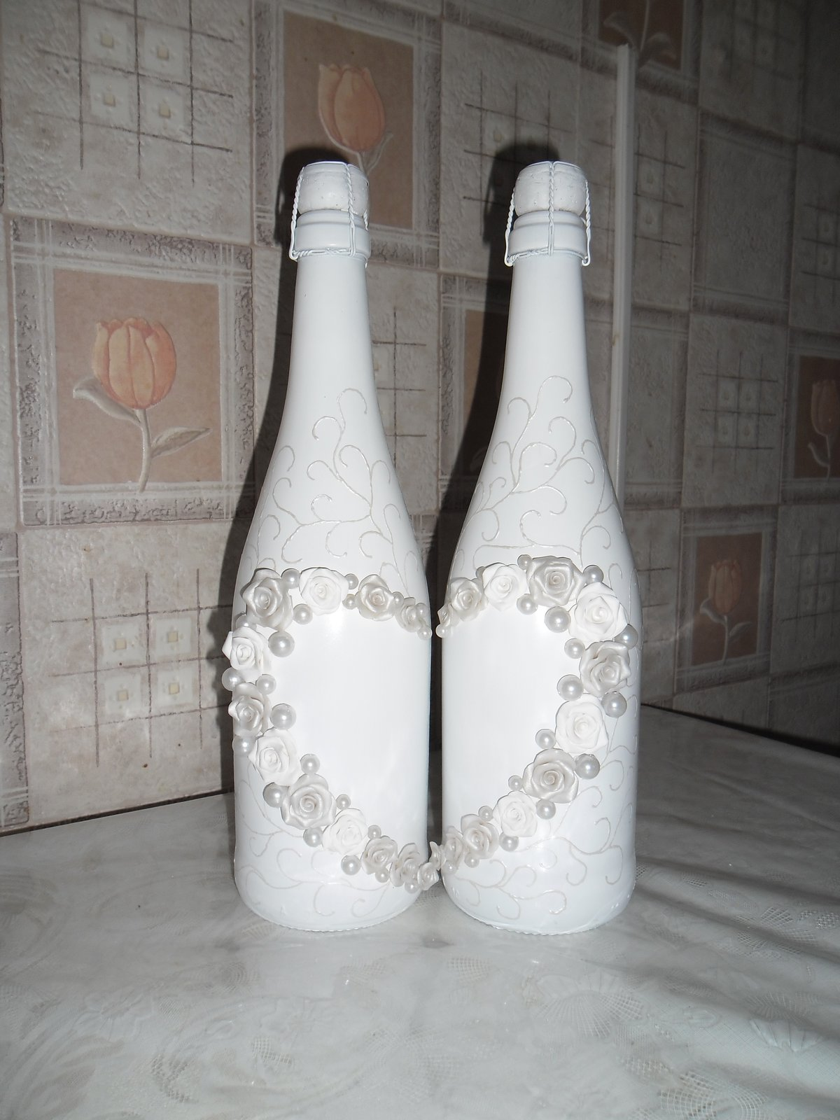 Свадебная бутылка с маками
