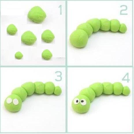 Гусеница из пластилина как слепить гусеницу из пластилина лепка для самых маленьких