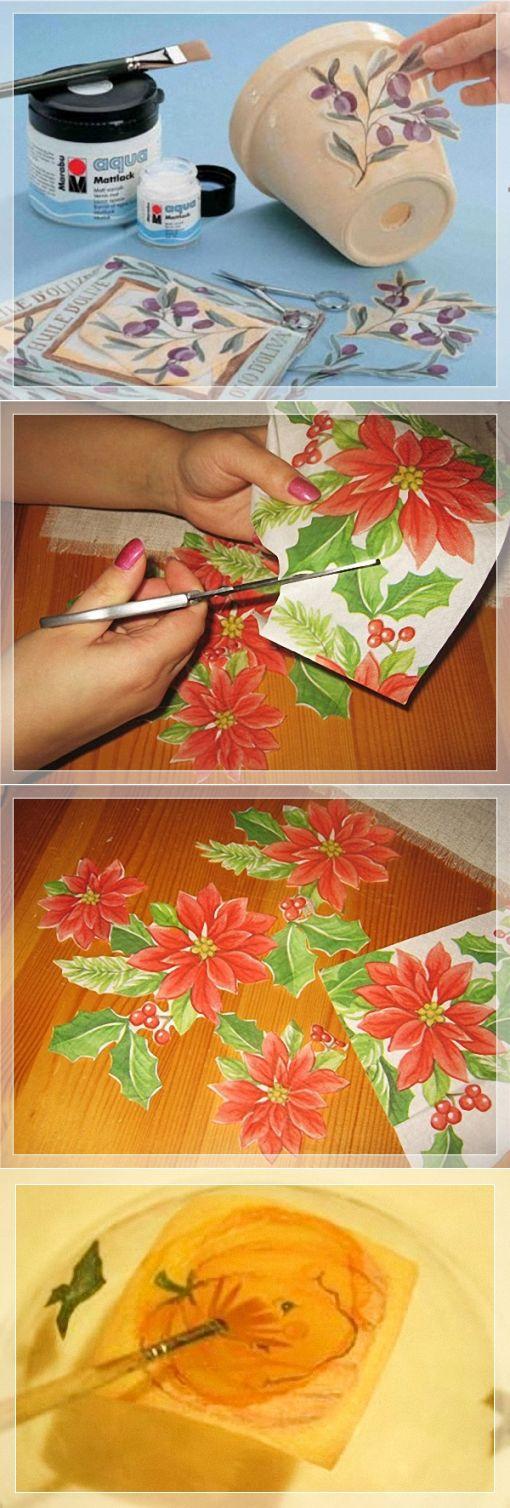 Декупаж картины из открытки и салфеток (поэтапный процесс)