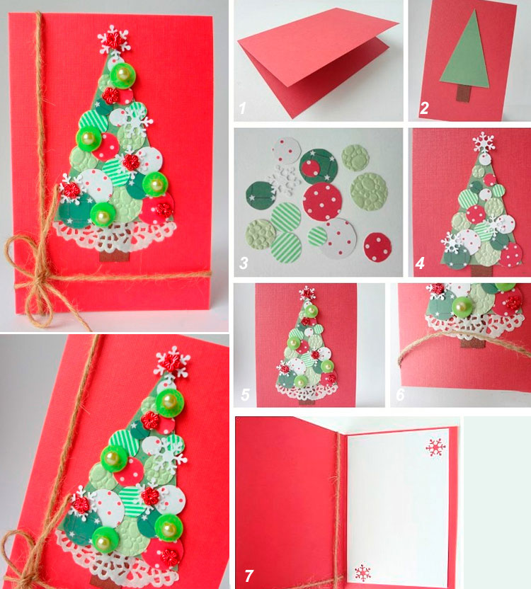 Новогодние открытки просто сделать своими руками