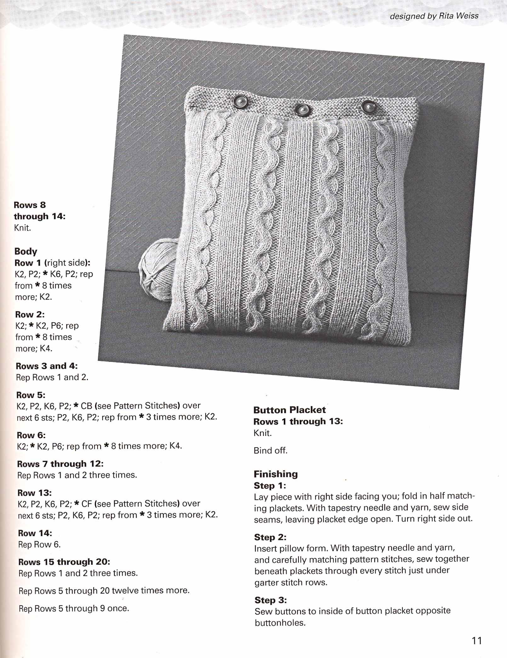 Вязание спицами подушки на диван