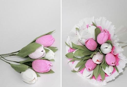 Тюльпаны из гофрированной бумаги своими руками, 3 мастер-класса