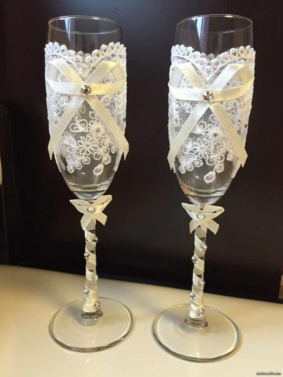 Свадебные бокалы: идеи оформления и украшения, фото и видео