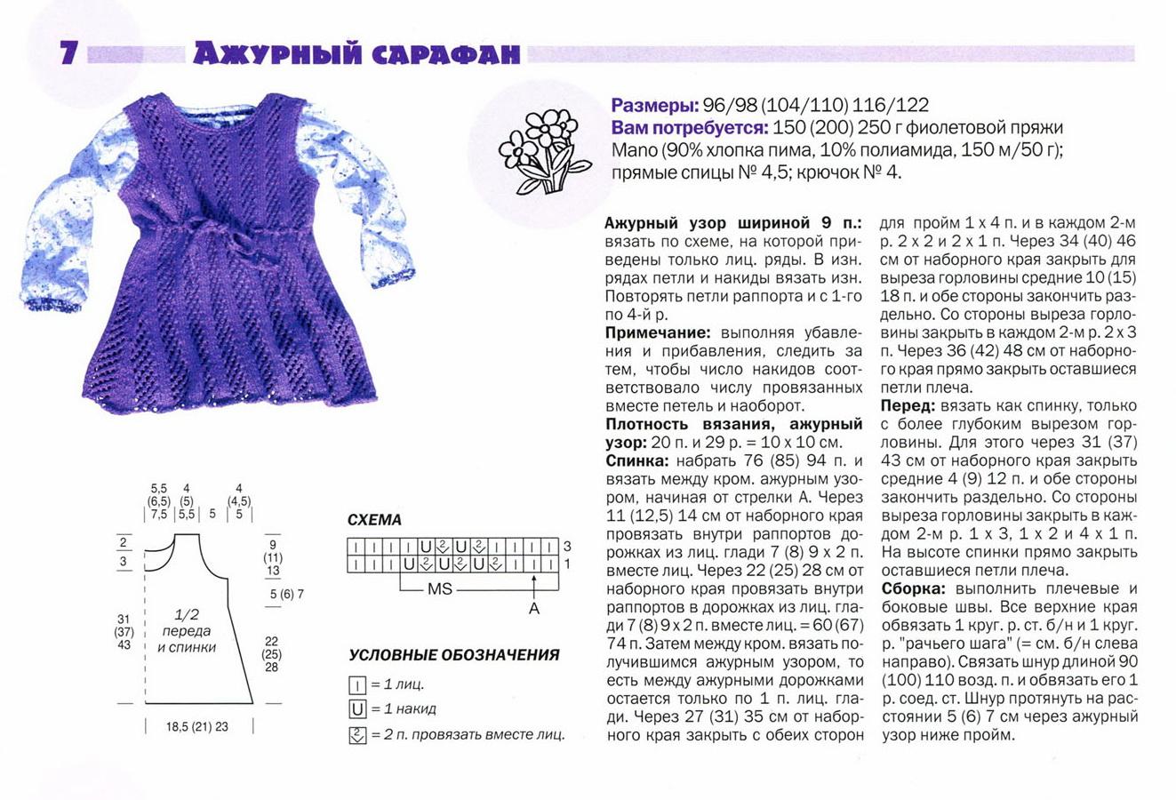 Платье спицами для девочки, 13 моделей с описанием и схемами,  вязание для детей