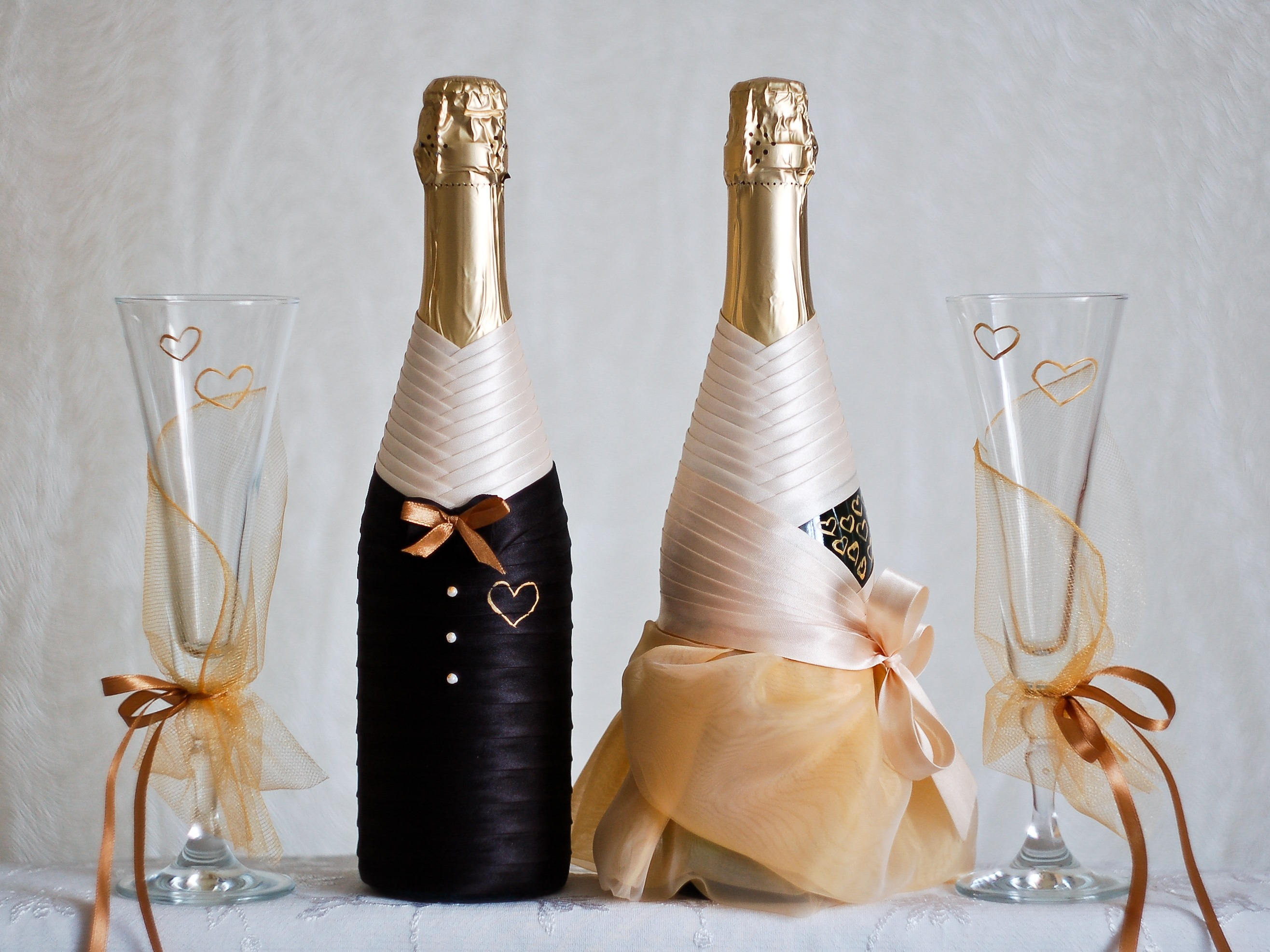 Свадебная бутылка с маками - своими руками