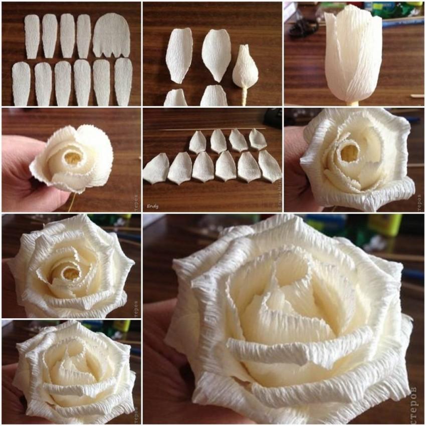 Роза из гофрированной бумаги с конфетой мастер класс пошагово