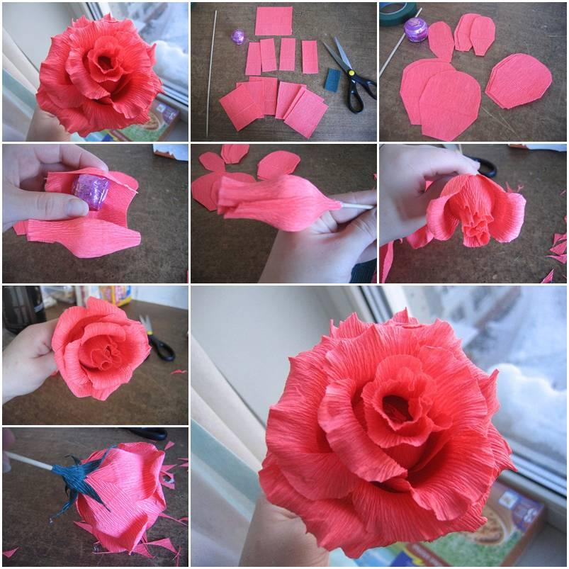 Бутон розы из гофрированной бумаги с конфетами, сделанный своими руками: мастер класс и видео уроки