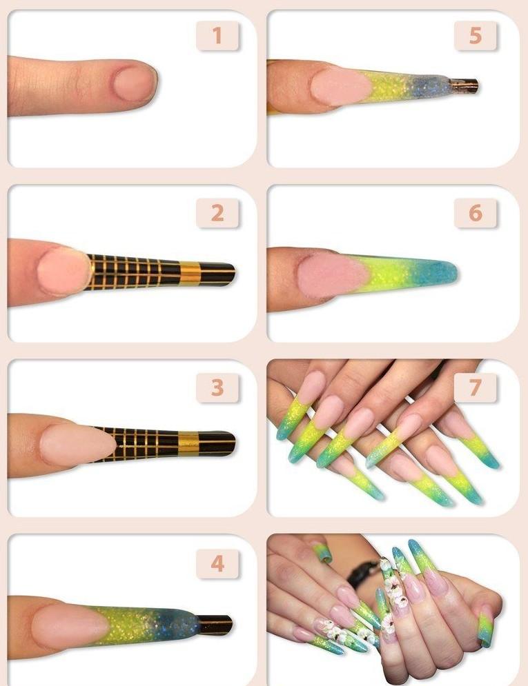 Наращивание ногтей акрилом дома - пошаговая инструкция с фото