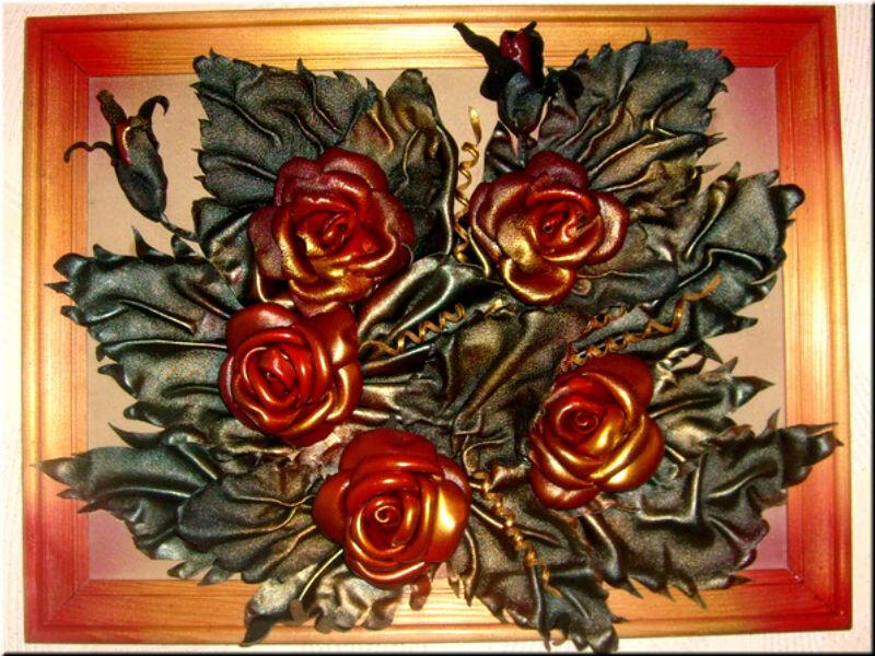 Розы из кожи - объемная картина - совместное творчество