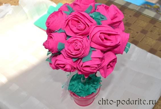 Топиарий с розами: своими руками, из салфеток, органзы, гофробумаги, мастер-класс пошагово (15 фото)