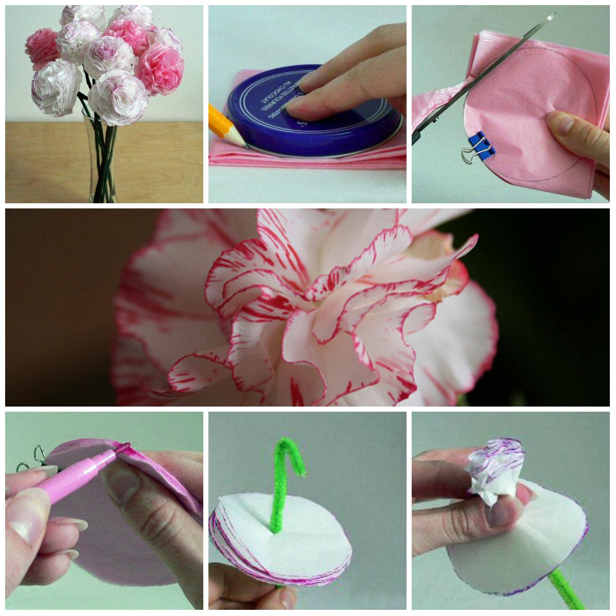 Цветы из салфеток своими руками для начинающих