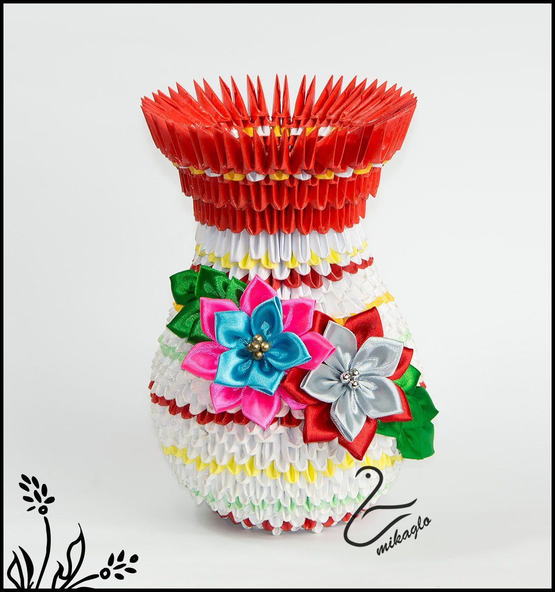 Модульное оригами «ваза» для начинающих пошагово с фото