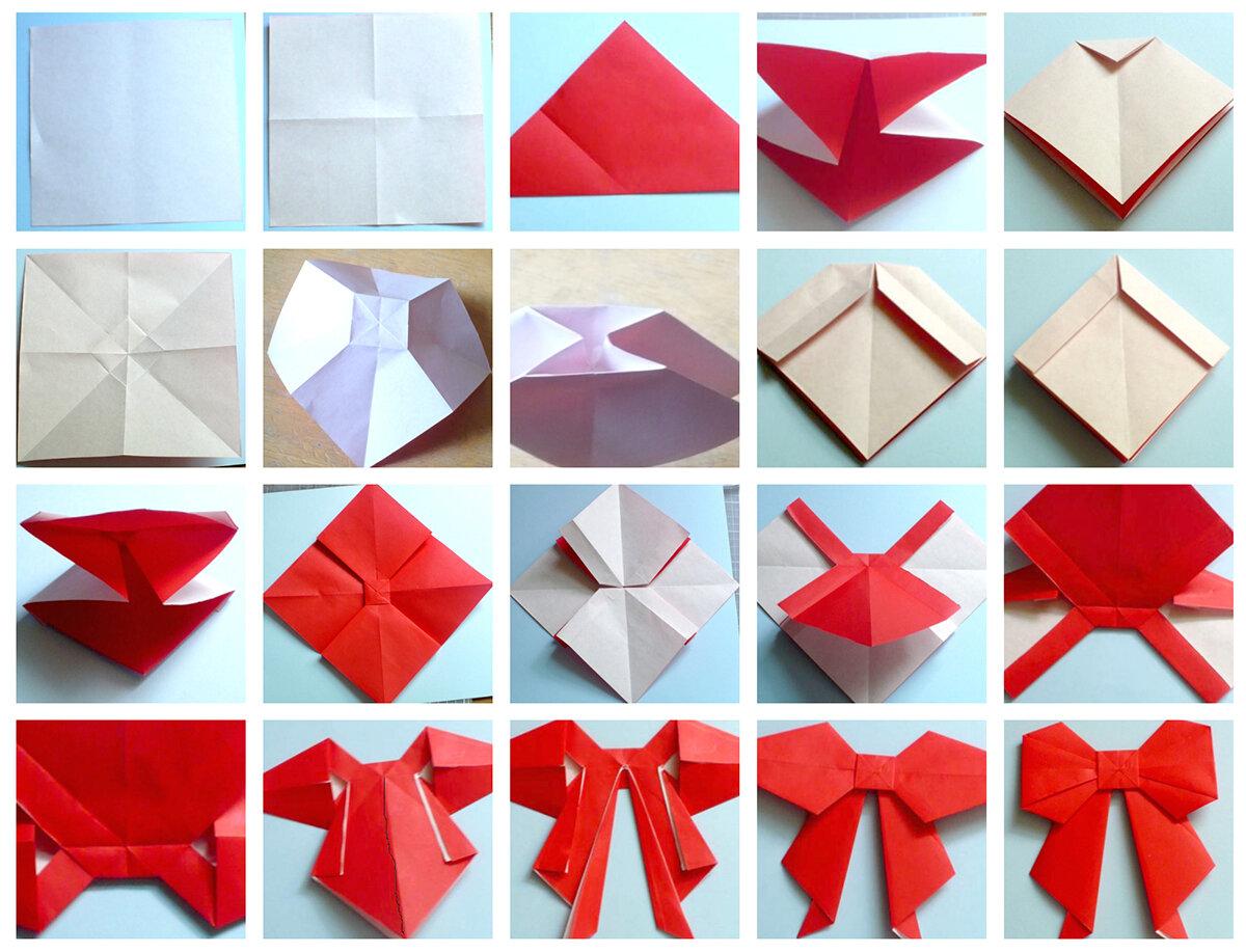 Оригами: пошаговое изготовление бантика из бумаги
