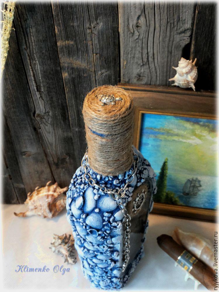 Как украсить бутылку в морском стиле – декор своими руками. декоративная бутылка «воспоминания о море заготовка в морском стиле декупаж