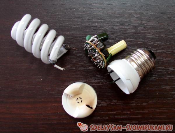ᐉ модернизация энергосберегающей лампы в светодиодную №1 - своими руками -