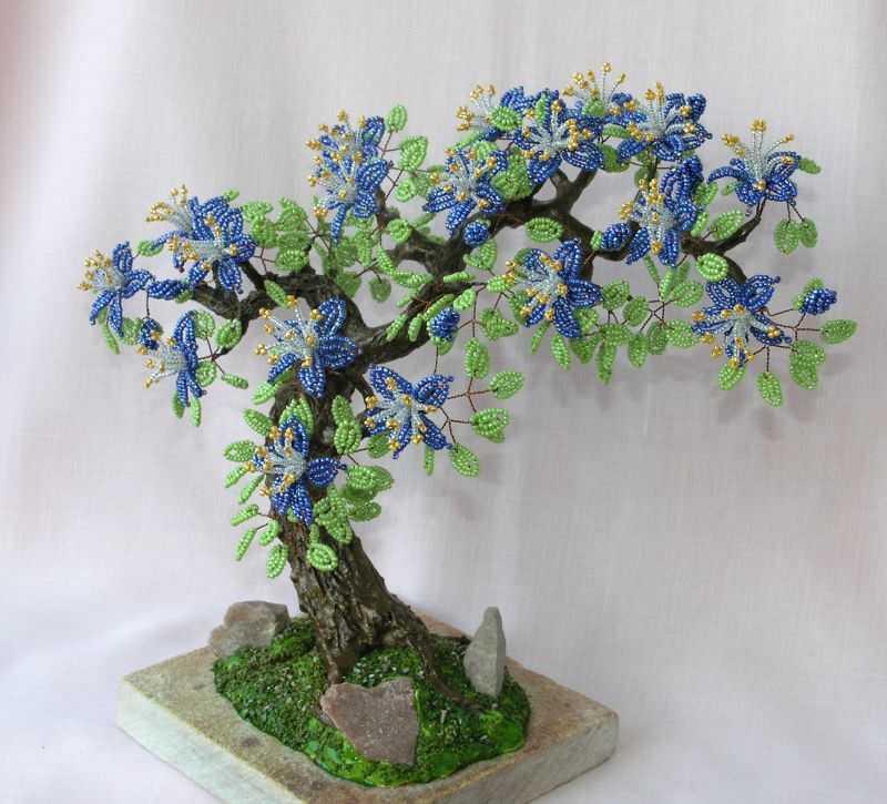 Дерево счастья из бисера. разные мастер классы пошагово