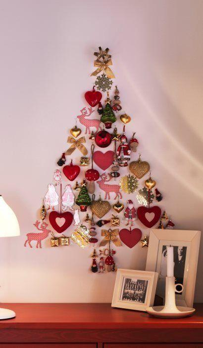 Новогодняя елка на стене -10 креативных вариантов украшения