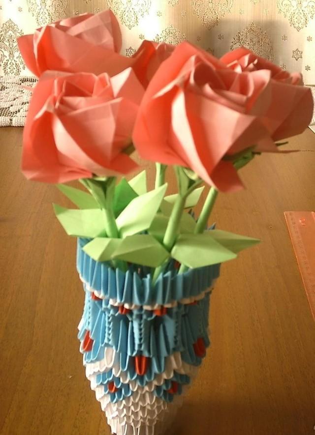 Оригами ваза — техника изготовления и пошаговая инструкция по сборке модульной бумажной вазы (100 фото)