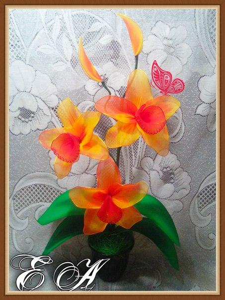 Поделка изделие моделирование конструирование несколько моих цветочных композиций из капрона капрон