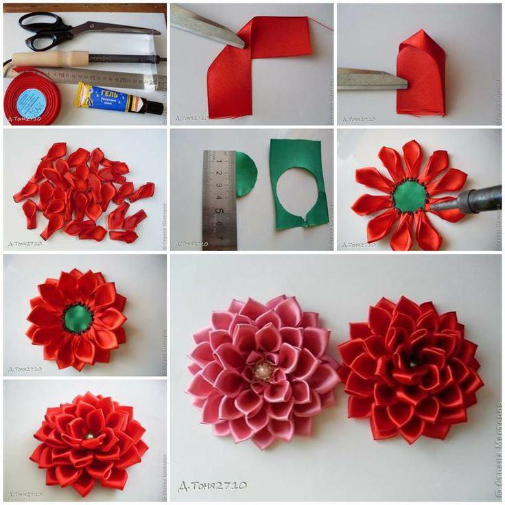 Цветы из лент своими руками (62 фото) - простой мастер-класс для начинающих