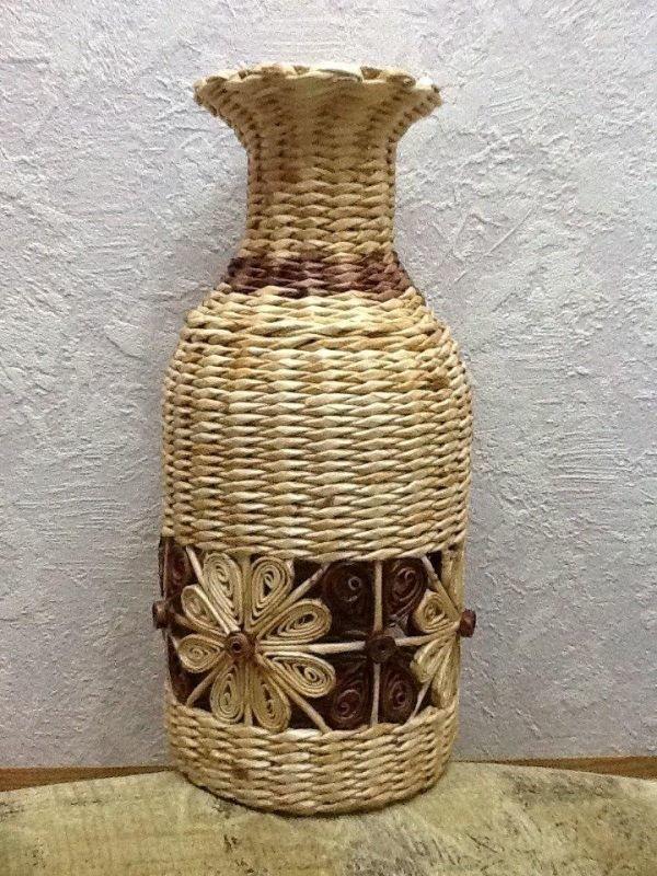 Большая спиральная ваза из бумажной лозы - своими руками