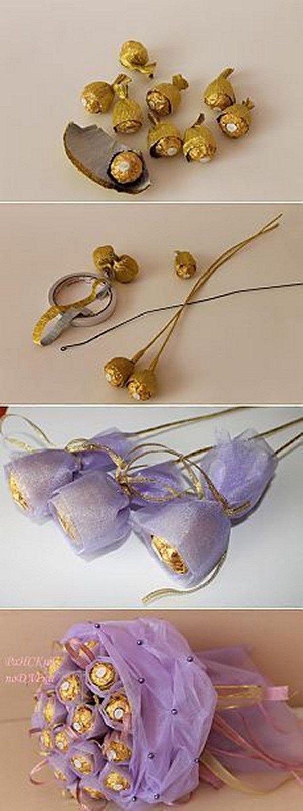 Букеты из конфет. цветы своими руками из гофрированной бумаги. мастер-класс пошагово для начинающих, фото-инструкции