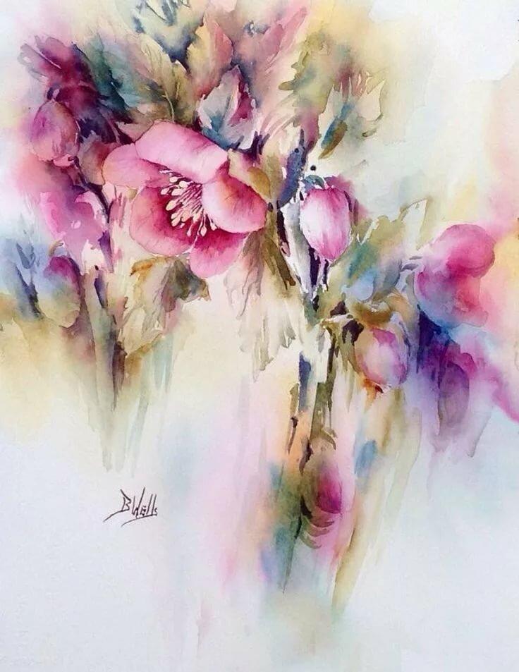 Как рисовать цветы акварелью свободными мазками - пошаговый урок