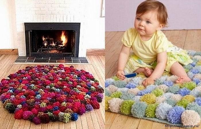 Как сшить коврик из мягких помпонов