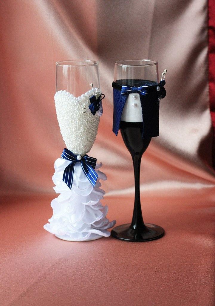 Свадебные бокалы: фото и идеи оформления