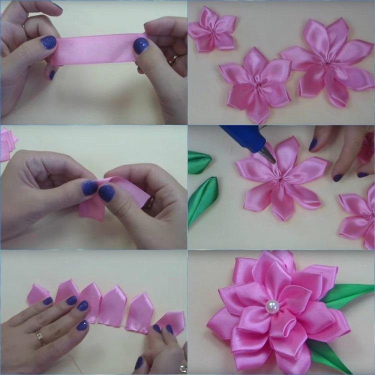 Как сделать цветок из ленты своими руками: 90+ (фото) вариантов
