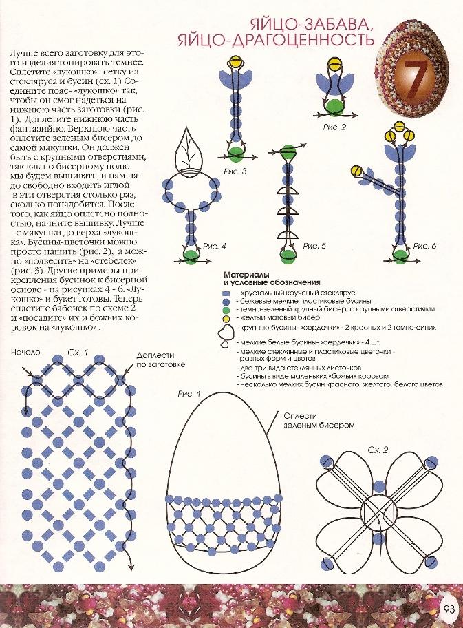 Пасхальные яйца из бисера схемы плетения