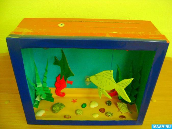 Аквариум из катонной коробки и бумаги - идея, 6 фото в разделе педагогика, своими руками