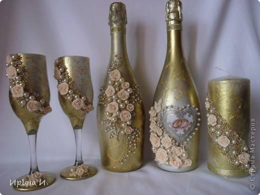 Декор свадебных бутылок (фото)