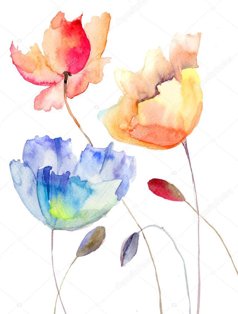 Как рисовать цветы акварелью свободными мазками
