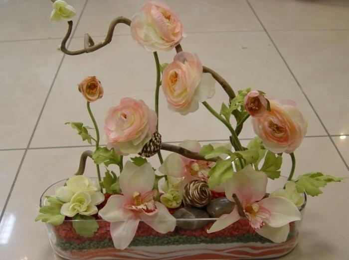 Как сделать композицию из искусственных цветов своими руками. композиция из цветной соли и искусственных цветов. цветы в стеклянных вазах