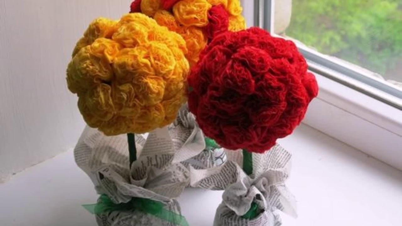 Бумажное искусство: учимся творить цветы из салфеток