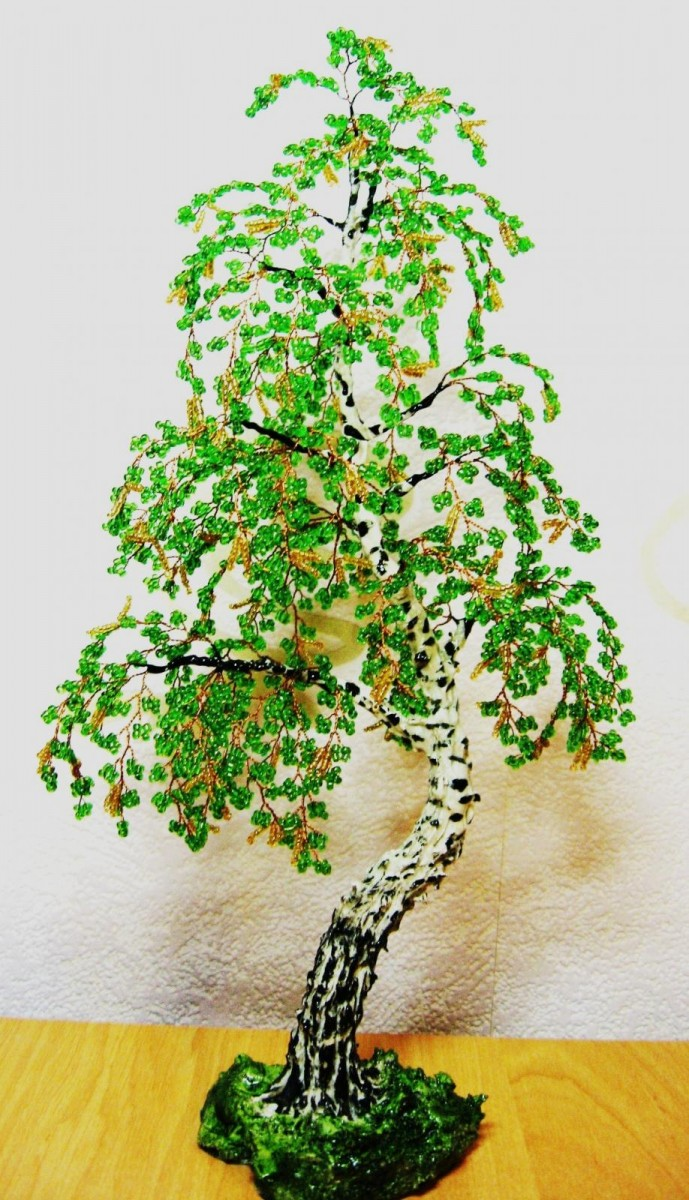 Золотое дерево из бисера своими руками. пошагово