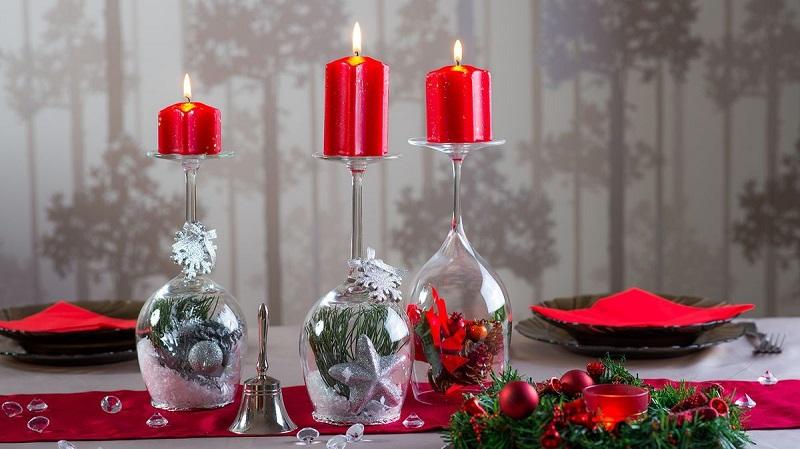 Красивые новогодние подсвечники из бокалов своими руками