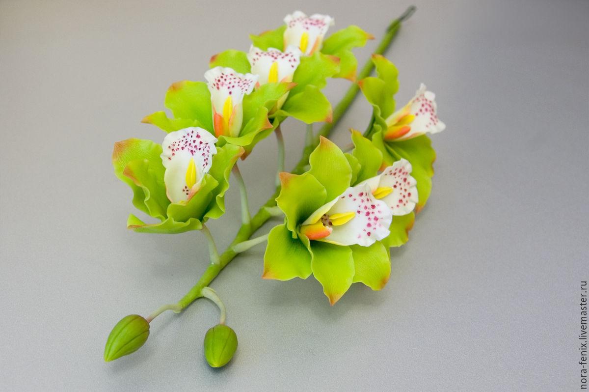 Кольцо из холодного фарфора с орхидеей