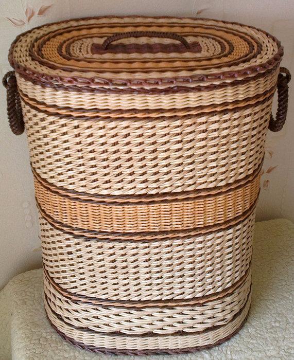 Корзина для белья своими руками: из коробки, дерева, джута, ткани, газетных трубочек