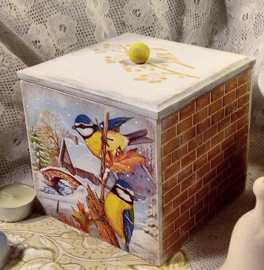 Декупаж картонной коробки: салфетками для вина и специй, пластик своими руками для обуви и мастер-класс для начинающих