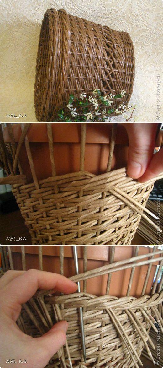 Варианты плетения кашпо из газетных трубочек