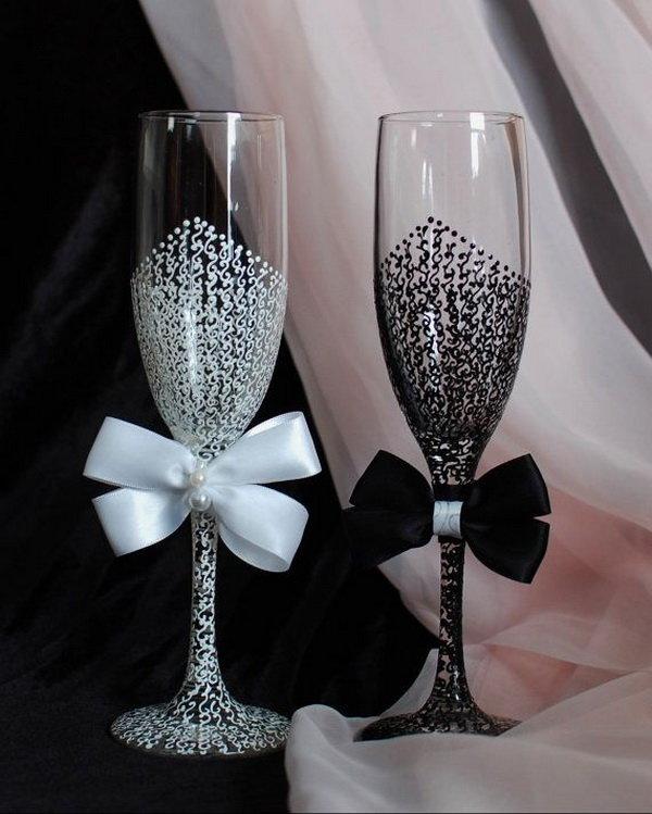 Свадебные бокалы своими руками пошаговое фото ? как украсить стаканы для жениха и невесты