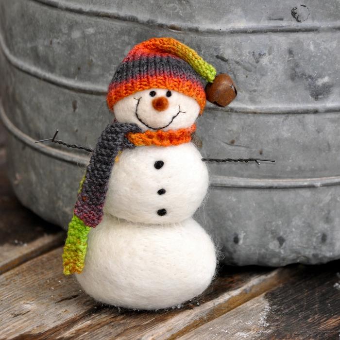 Валяние снеговика из шерсти: мастер класс
