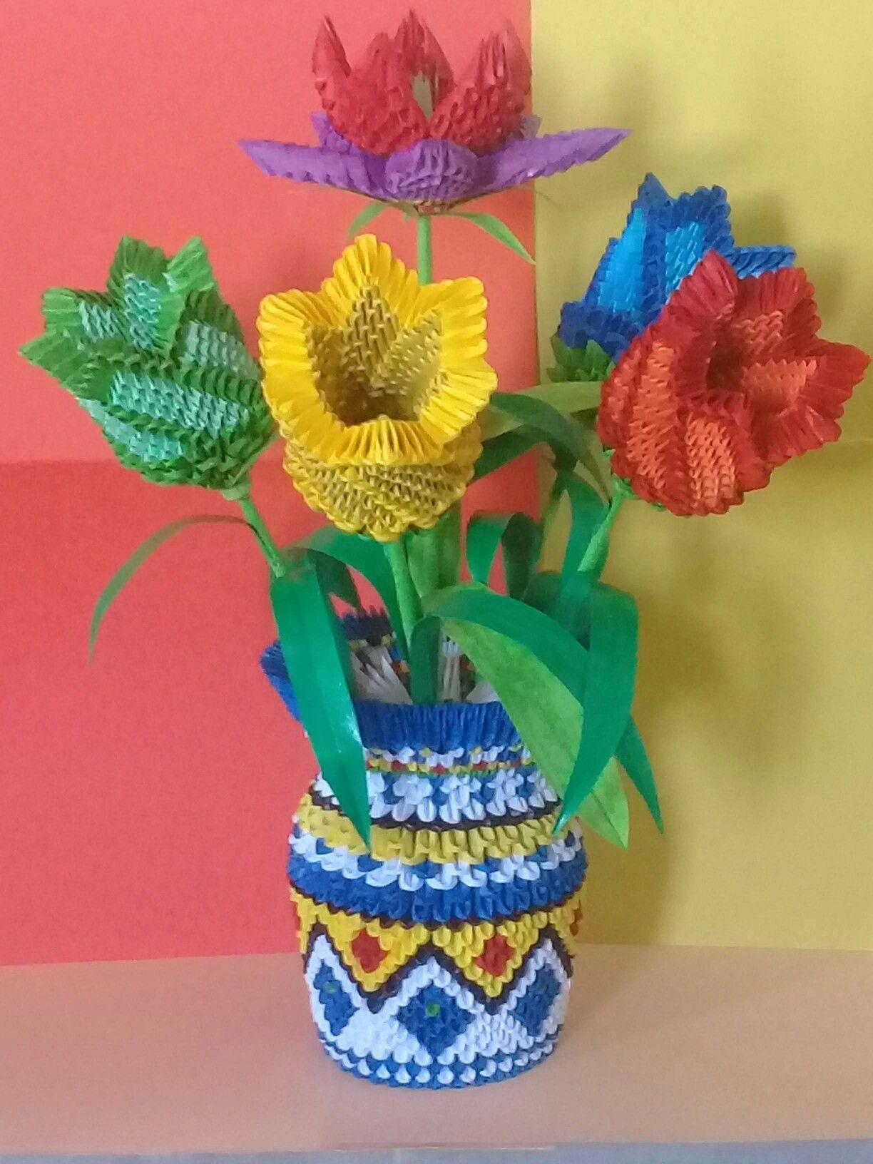 Мастер-класс поделка изделие моделирование конструирование оригами китайское модульное ваза «идея» бумага