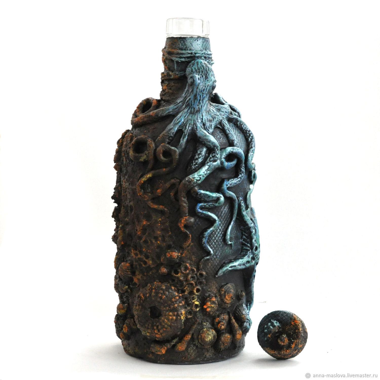 Декоративная бутылка «воспоминания о море. морская бутылка декупаж в морском стиле