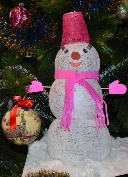 Мастер-класс поделка изделие новый год моделирование конструирование мк изготовление снеговика из ниток нитки