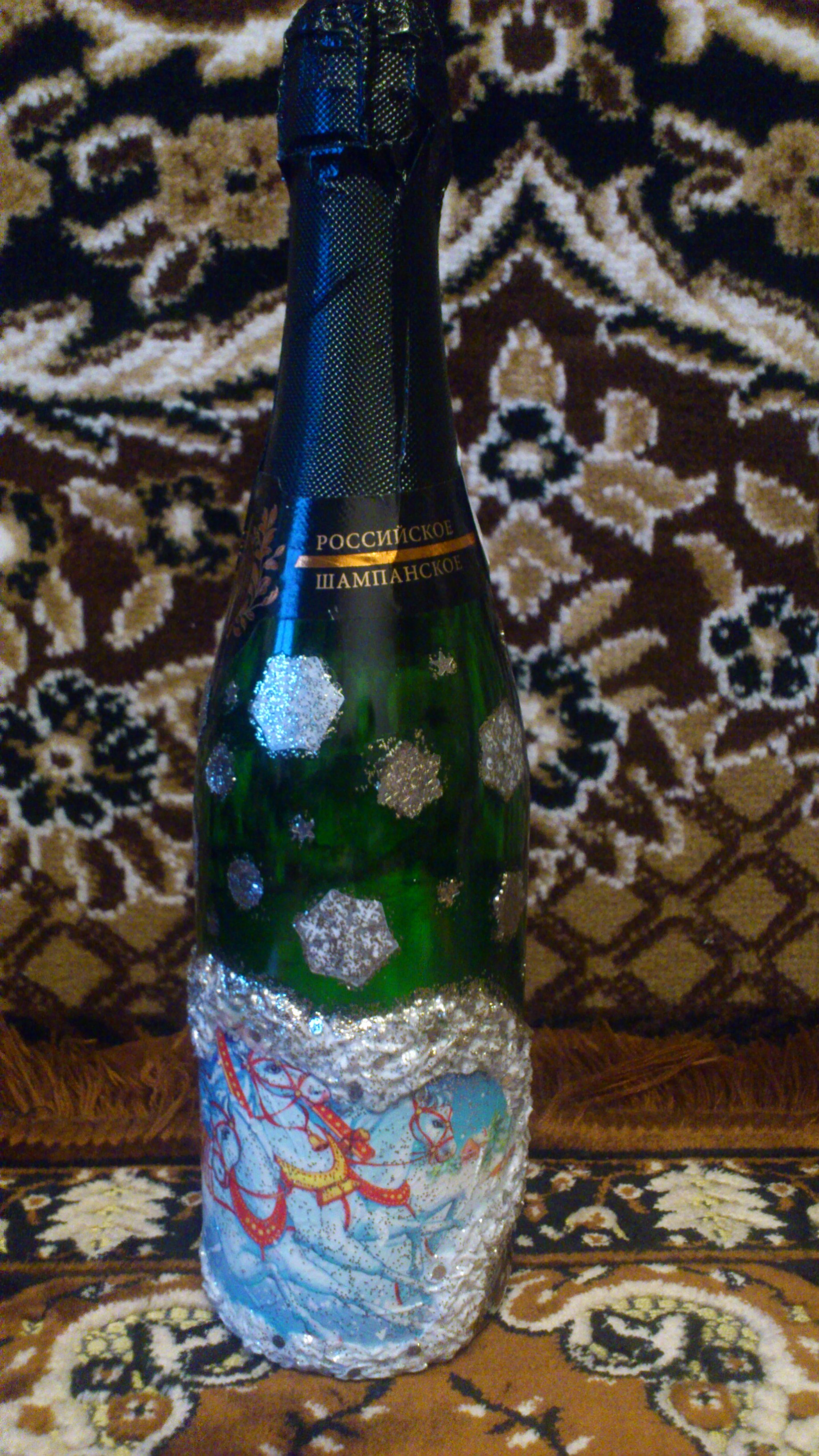Как украсить бутылку шампанского на новый год и 8 марта: декупаж салфетками, видео мастер класс для начинающих