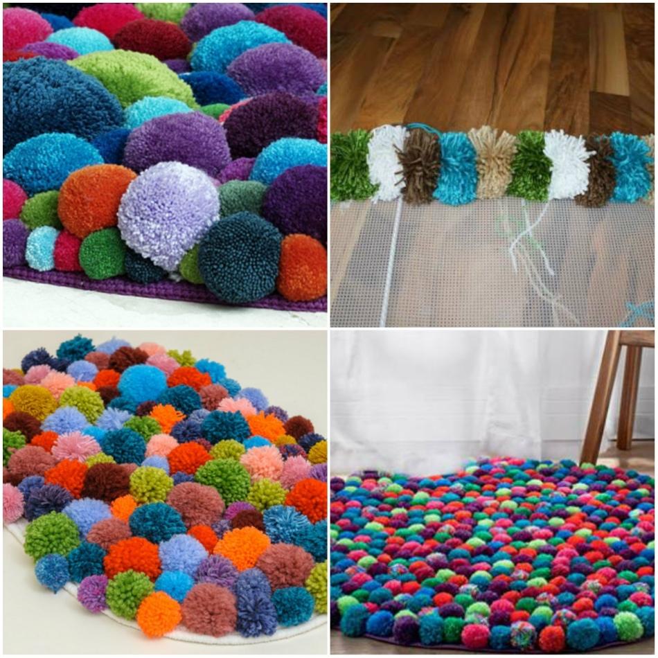 Изготовление коврика из помпонов своими руками, фотографии ковров и мастер-класс по плетению